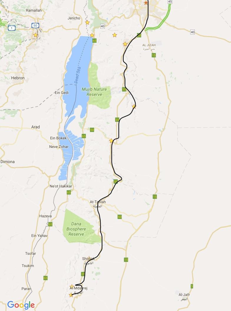 Amman to Mujib Valley, Kerak, Shobak, Little Petra and Petra
