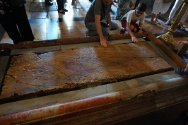 The marble rock bed Jesus was laid upon after his crucifixion