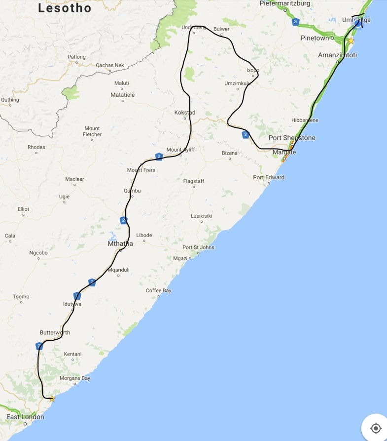 Chintsa to Durban, the slightly lost route