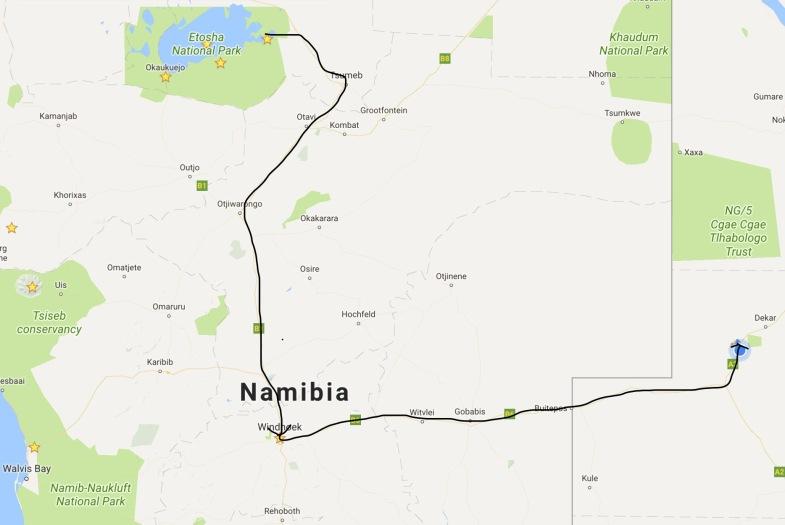 Etosha to Ghanzi via Windhoek