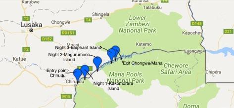 Zambezi Canoe Route