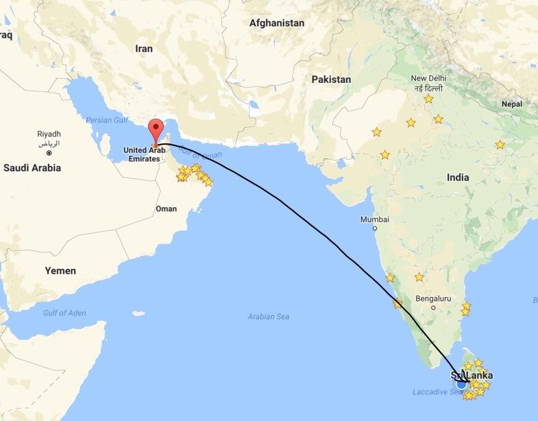 Dubai to Colombo